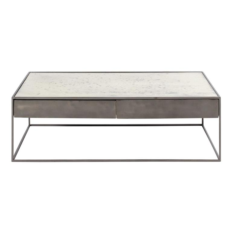 Table Basse En Fer Gris Et Verre Trempe Calixte Maisons Du Monde