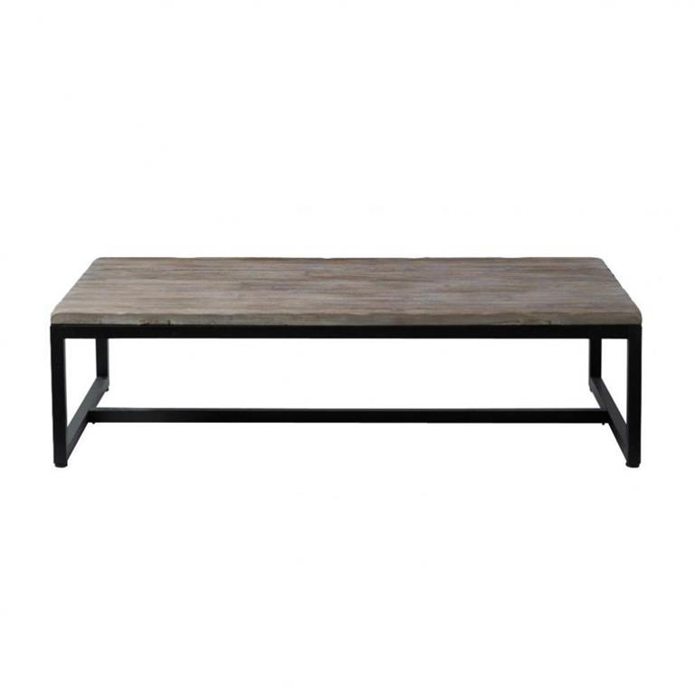 Table basse indus en bois et métal L 129 cm Long Island