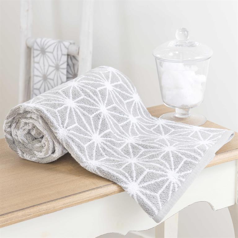 Drap de bain en coton gris 70 x 140 cm NORDIC