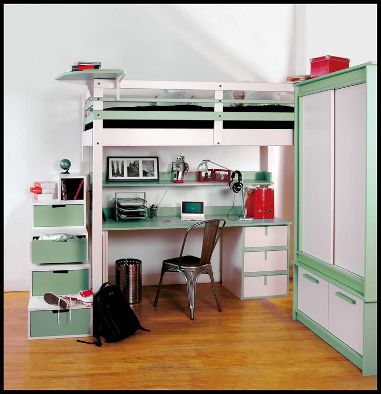 Chambre d'ado avec lit mezzanine