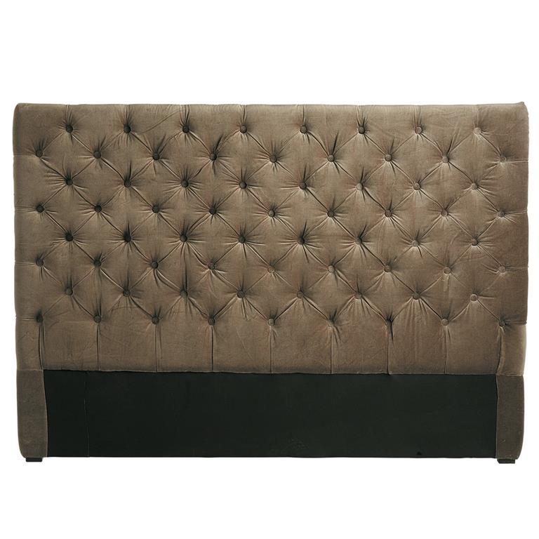 Tête de lit capitonnée vintage en velours taupe L 160 cm Chesterfield