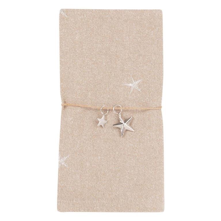 Serviette et rond de serviette en coton beige motifs étoiles argentées