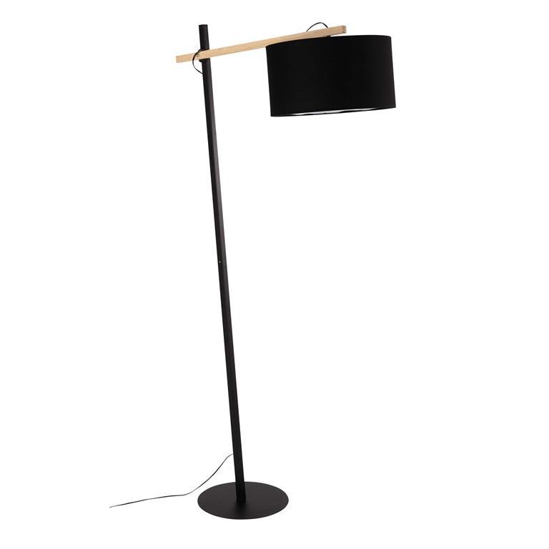 Lampadaire en métal et abat-jour noir H 170 cm KLARA