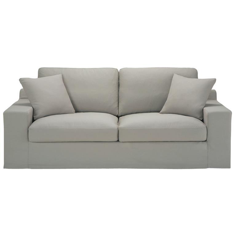 Canapé-lit 3 places en coton gris clair Stuart