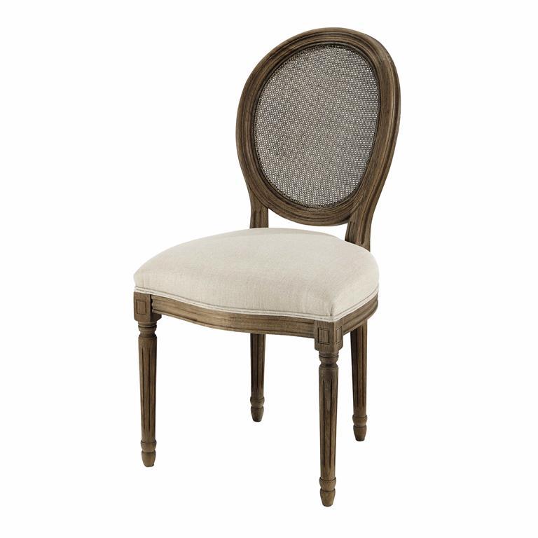 Chaise médaillon cannée en lin et chêne massif grisé Louis