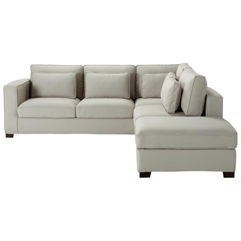 Canapé d'angle 5 places en coton gris clair Milano
