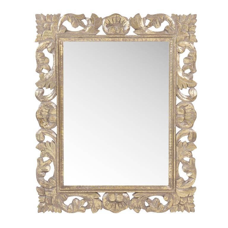 Miroir en bois sculpté doré H 53 cm CAROLINE