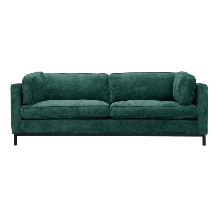 Canapé 3 places en velours chiné vert