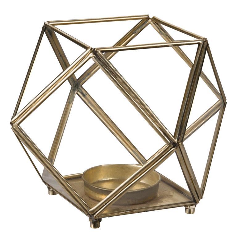 Photophore en verre et métal doré