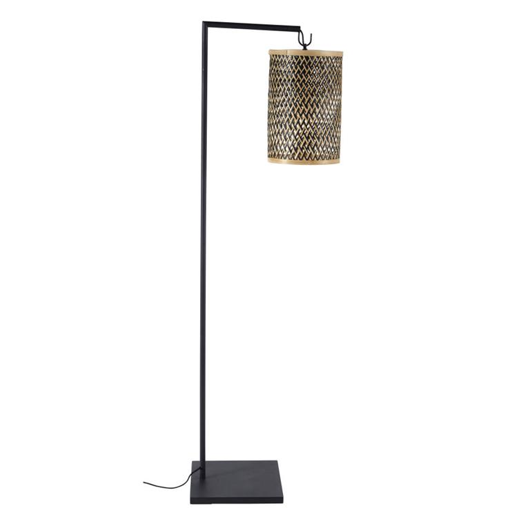 Lampadaire en métal noir et abat-jour en fibre végétale H151