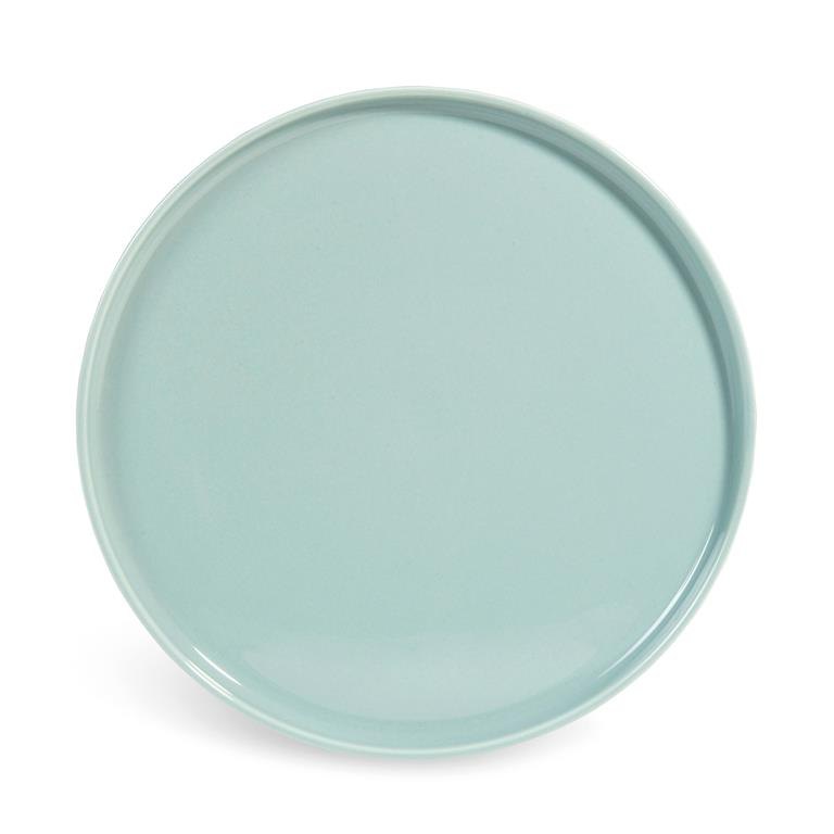 Assiette plate en faïence bleue