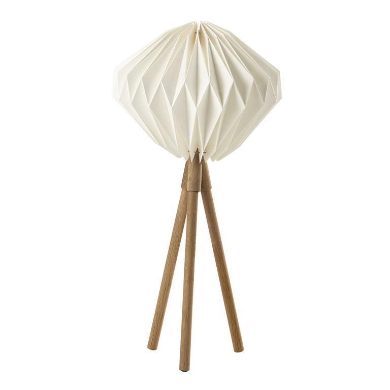 Lampe en bois et abat-jour en papier blanc H 79 cm LAPONIE
