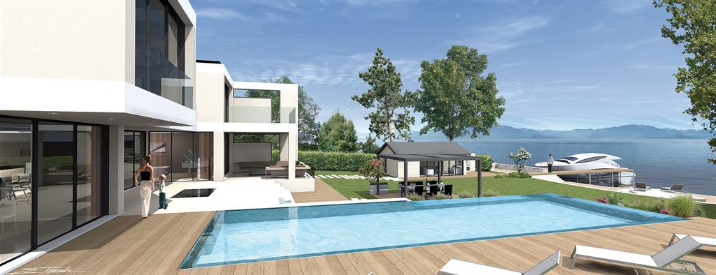 Deck piscine avec vue sur le Lac Léman