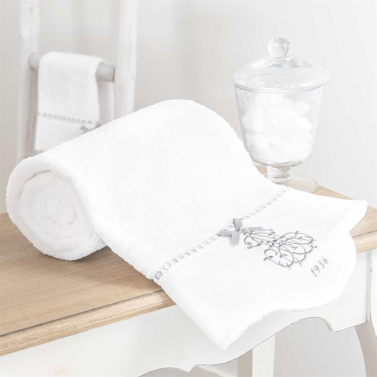 Serviette de bain en coton blanc 50x100