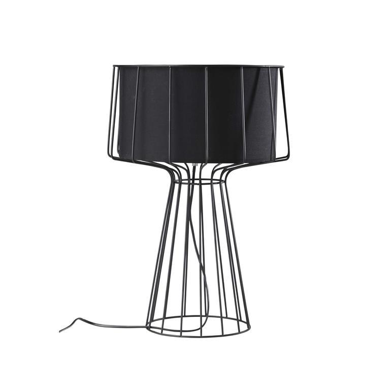 Lampe en métal abat-jour coton noire H 53 cm PULSE