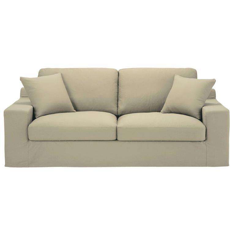 Canapé-lit 3 places en coton beige Stuart