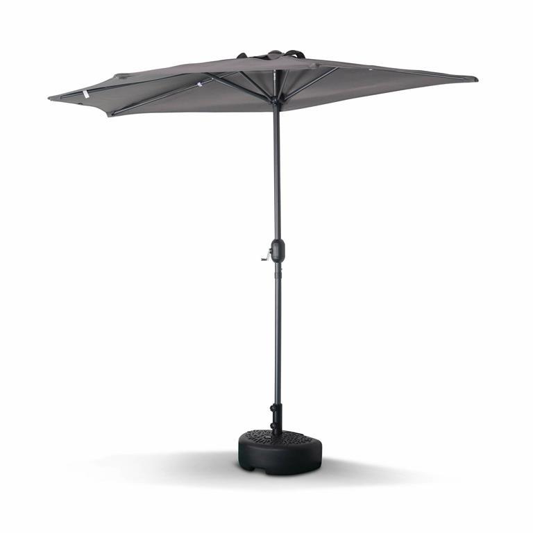 Demi parasol de balcon droit mât en aluminium toile grise D250cm