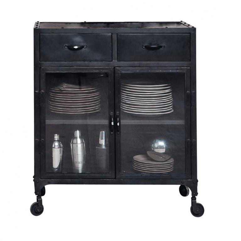 Buffet indus vitré à roulettes en métal noir L 80 cm Edison