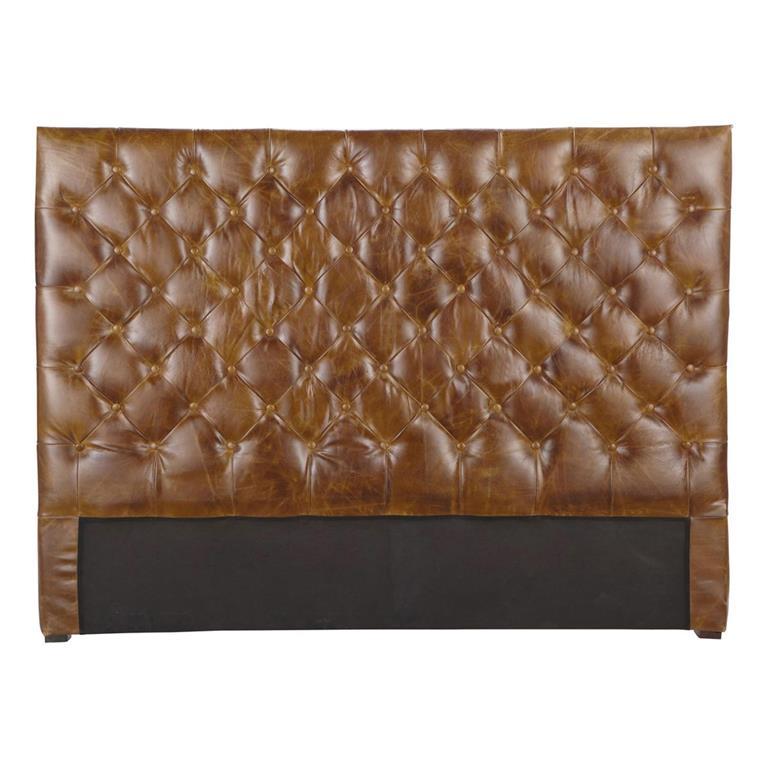 Tête de lit capitonnée vintage en cuir marron L 140 cm Chesterfield