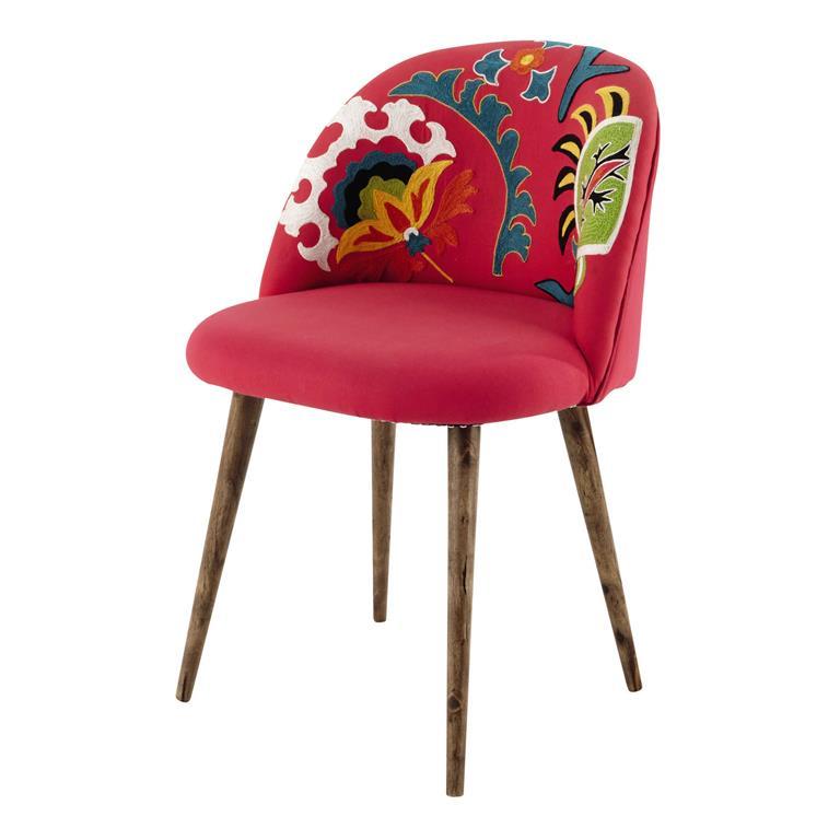 Chaise vintage en coton brodé et bois de sheesham rose Mauricette