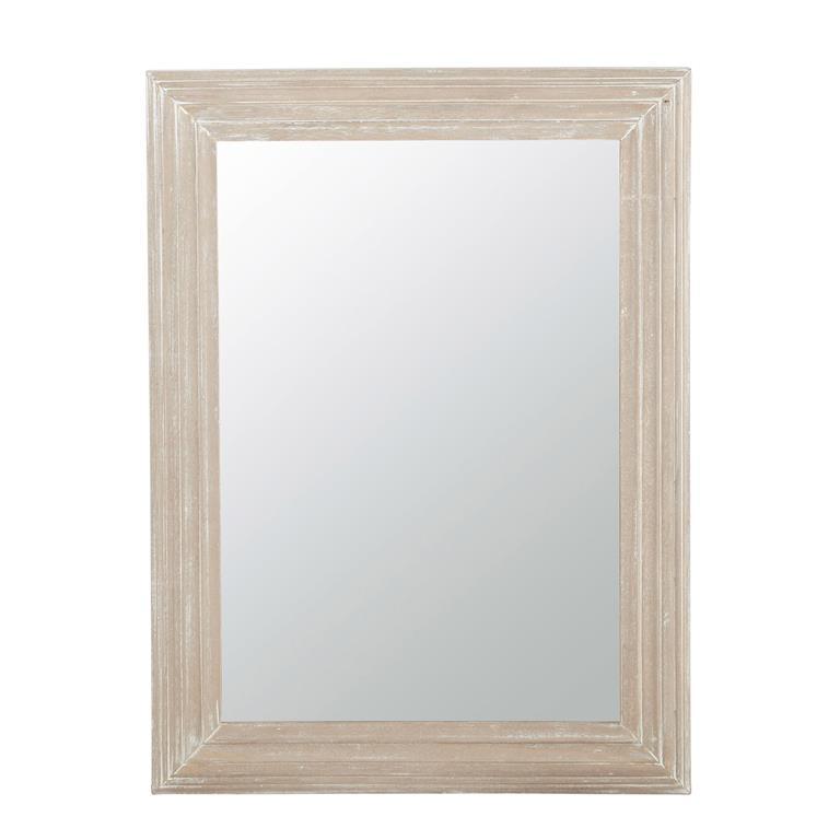 Miroir en bois blanchi H 80 cm NAPOLI