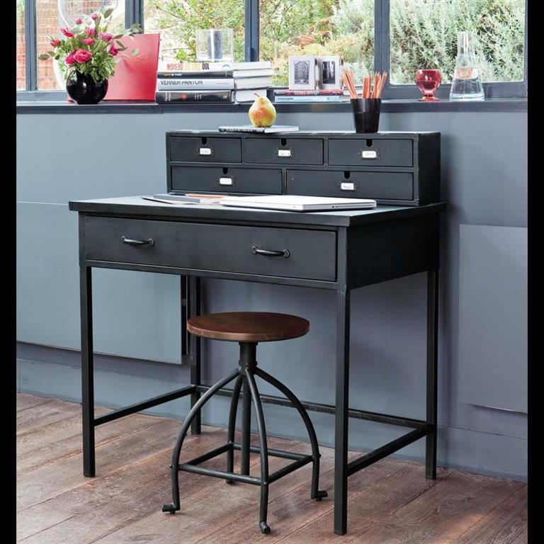 Bureau indus secrétaire en métal noir effet vieilli L 89 cm Edison
