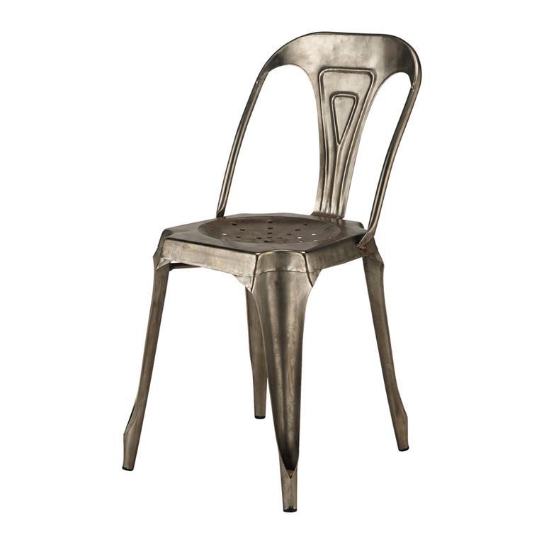 Chaise indus en métal grise