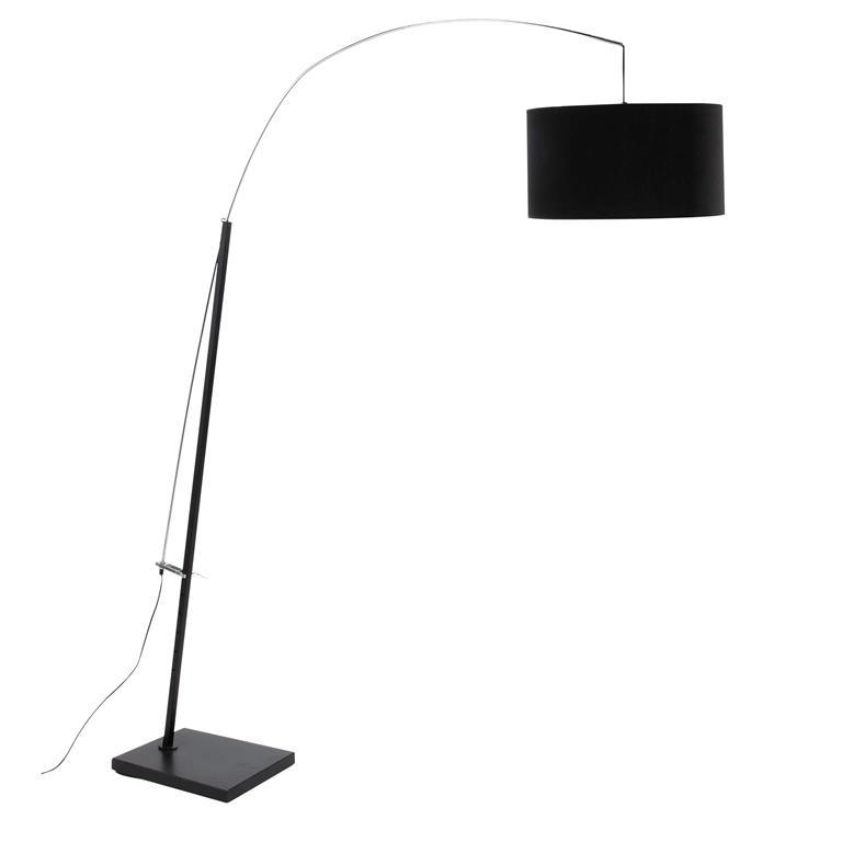 Lampadaire réglable en métal et coton noir H 213 cm TORINO
