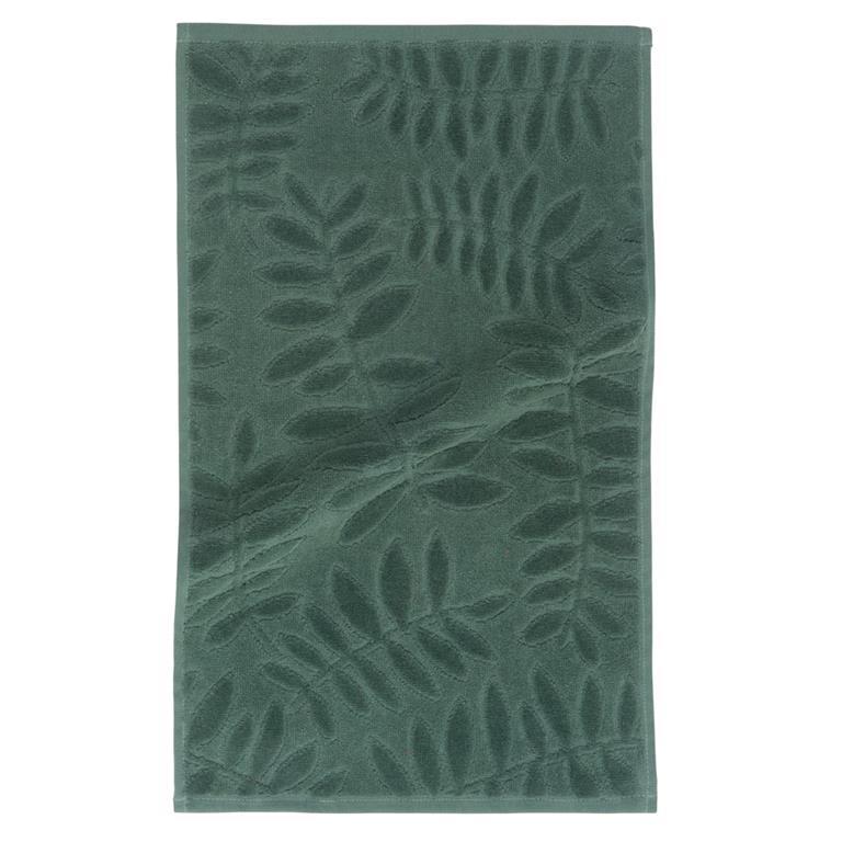 Serviette en coton vert motifs feuilles 30x50