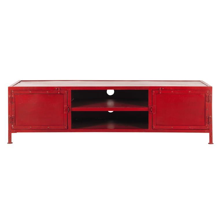 Meuble TV indus en métal rouge L 150 cm Edison