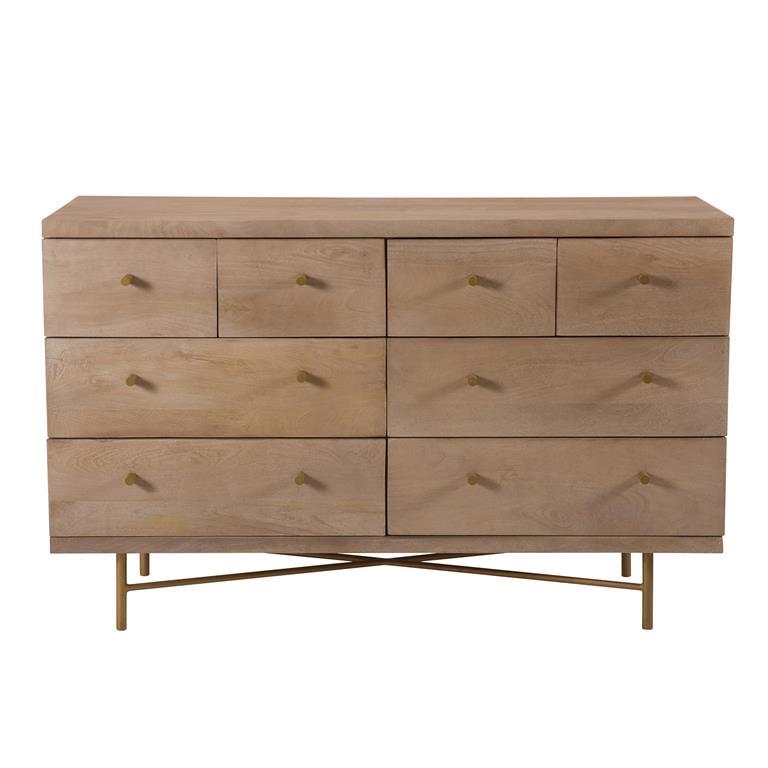 Commode 8 tiroirs en bois de manguier et pieds en métal doré