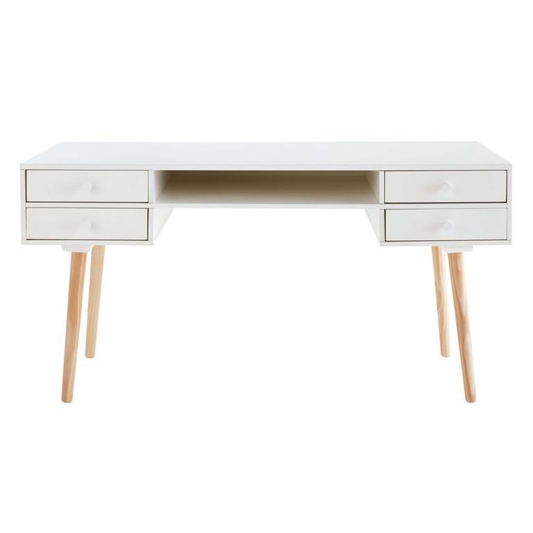 Bureau 4 tiroirs blanc Joy