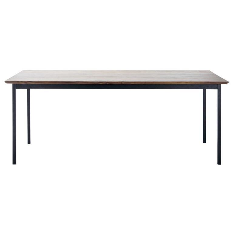 Table de salle à manger en noyer massif et métal L 200