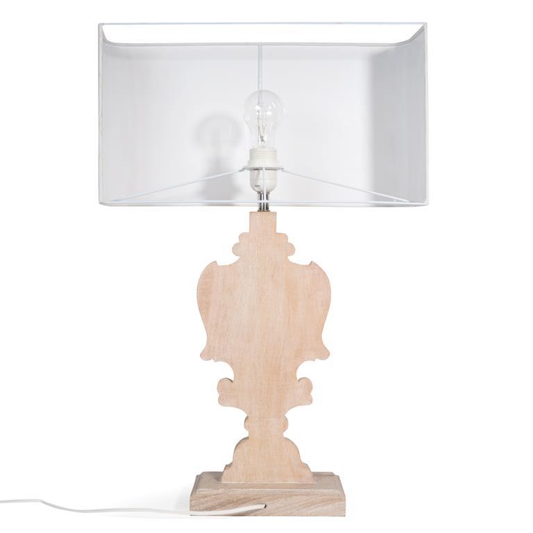 Lampe en manguier et abat-jour en coton blanc H 61 cm ROMANE