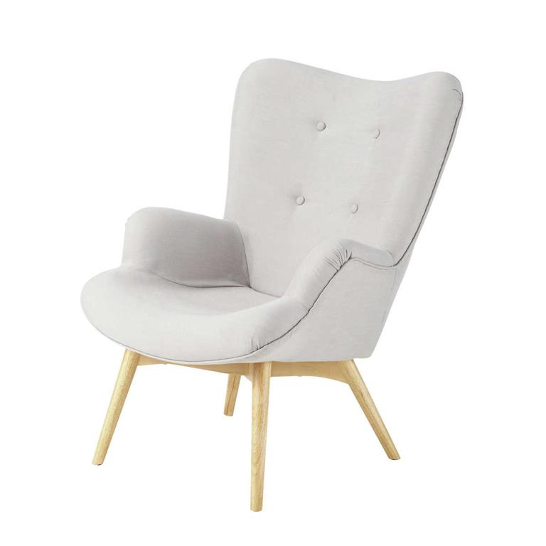 Fauteuil style scandinave gris clair Iceberg