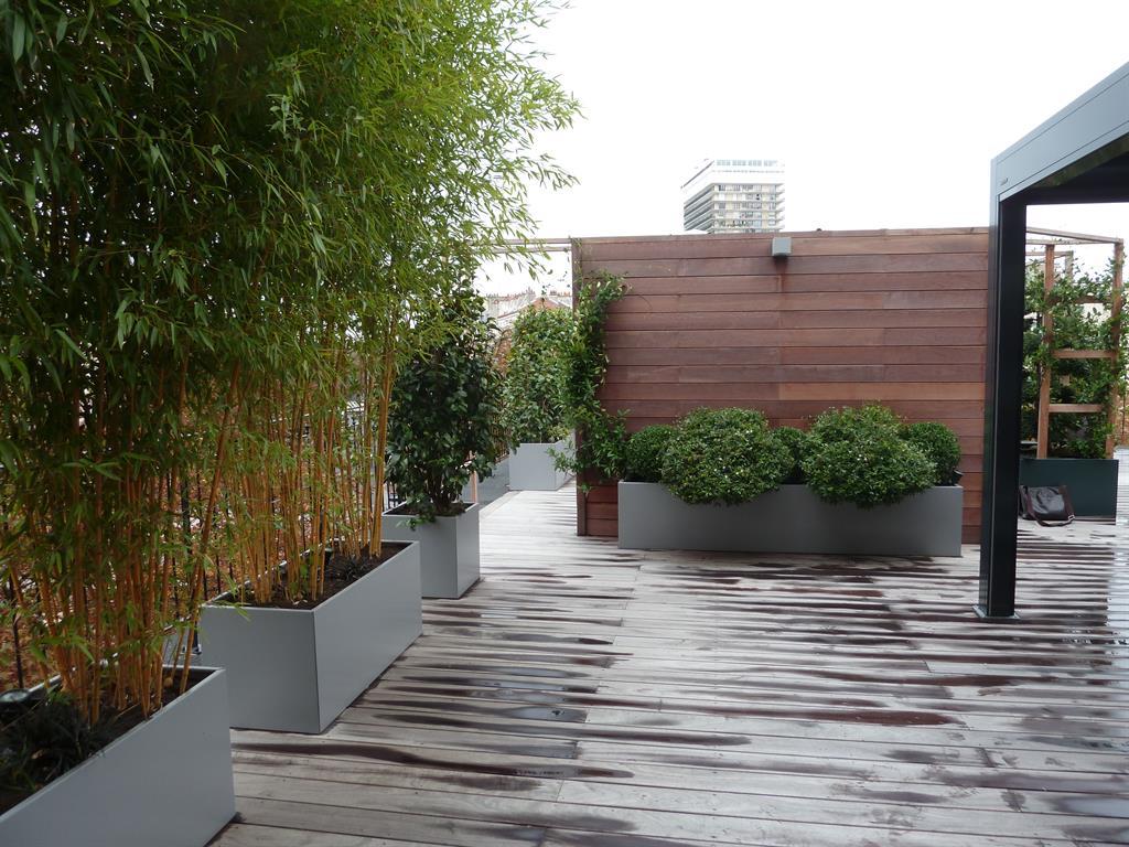 Terrasse en lames de bois exotique bord e de jardini res en aluminium avec ba - Agrandir une terrasse surelevee ...