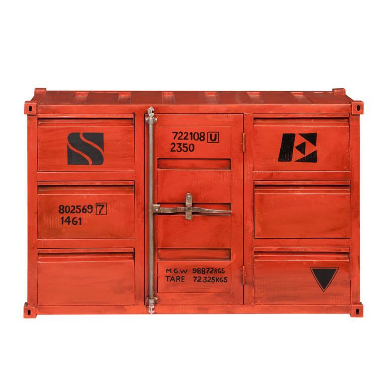 Buffet container en métal rouge L 134 cm Carlingue