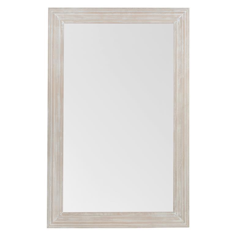 Miroir cérusé en bois blanchi H 110 cm CLASSIQUE