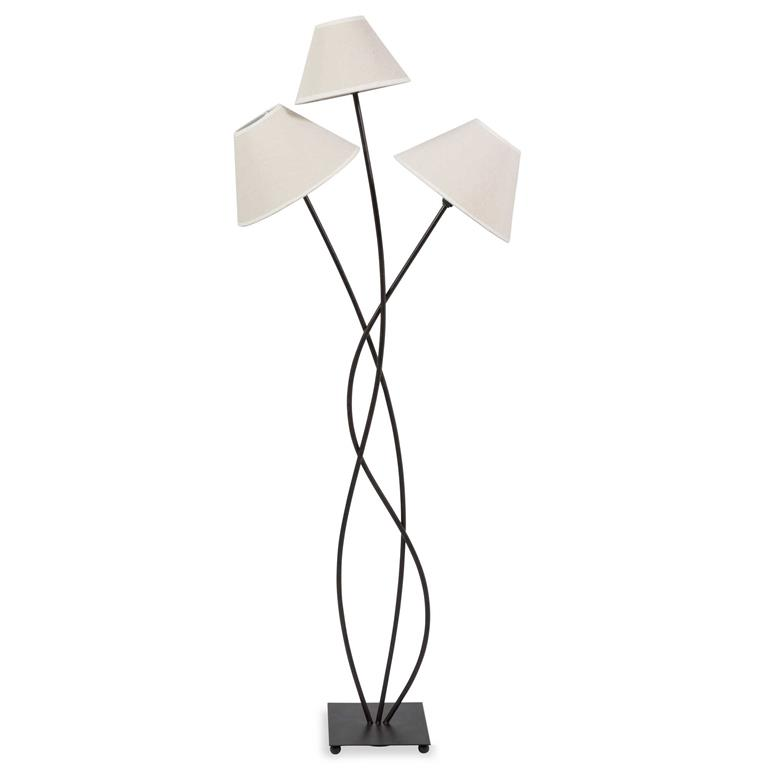 Lampadaire triple abat-jour en métal H 130 cm LINA