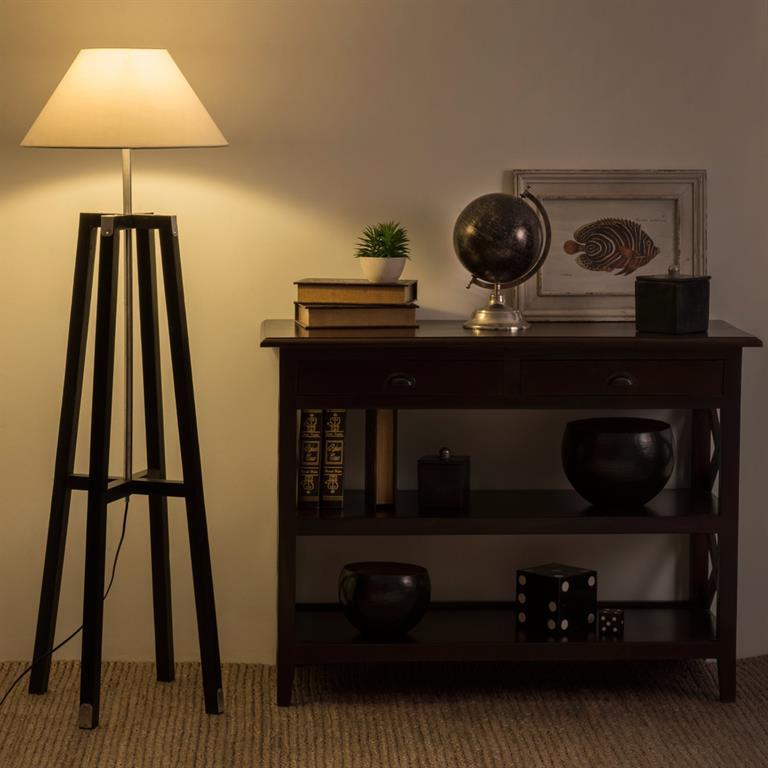 Lampadaire en bois et tissu H 150 cm GOA