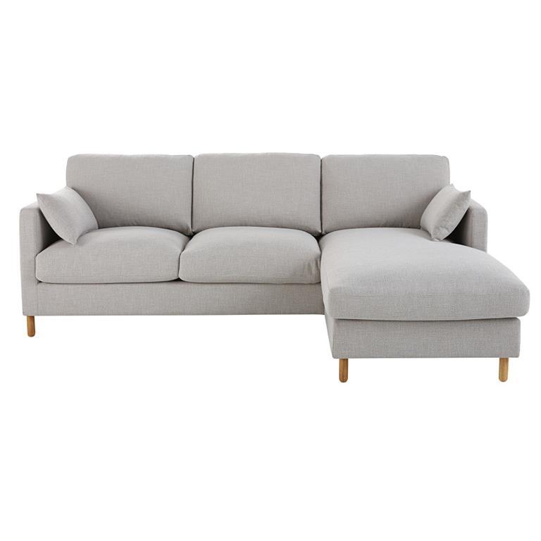 Canapé d'angle droit convertible 5 places gris clair