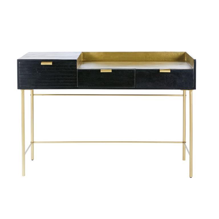 Bureau 3 tiroirs en acacia massif noir et métal doré Jagger