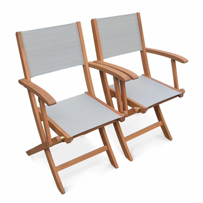 Lot de 2 fauteuils de jardin en bois gris