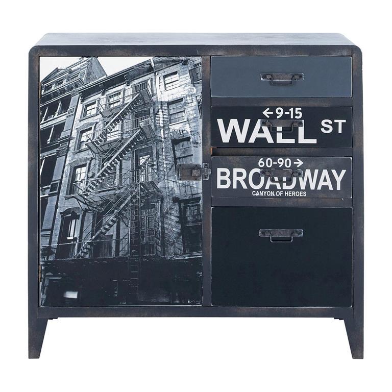Buffet indus imprimé en bois gris L 80 cm Wall Street