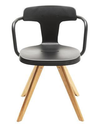 Chaise T14 / Métal & pieds bois - Intérieur - Tolix noir