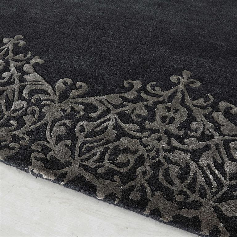 tapis poils courts en laine gris 140 x 200 cm arabesque. Black Bedroom Furniture Sets. Home Design Ideas