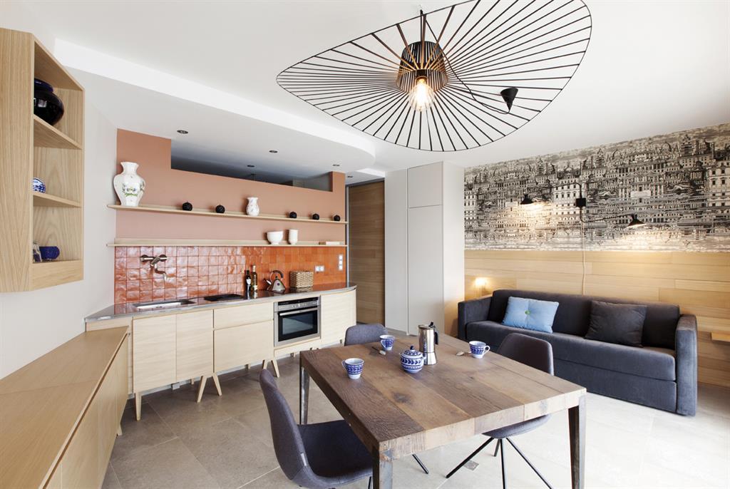 Image Cuisine ouverte avec crédence terracota Archi Design