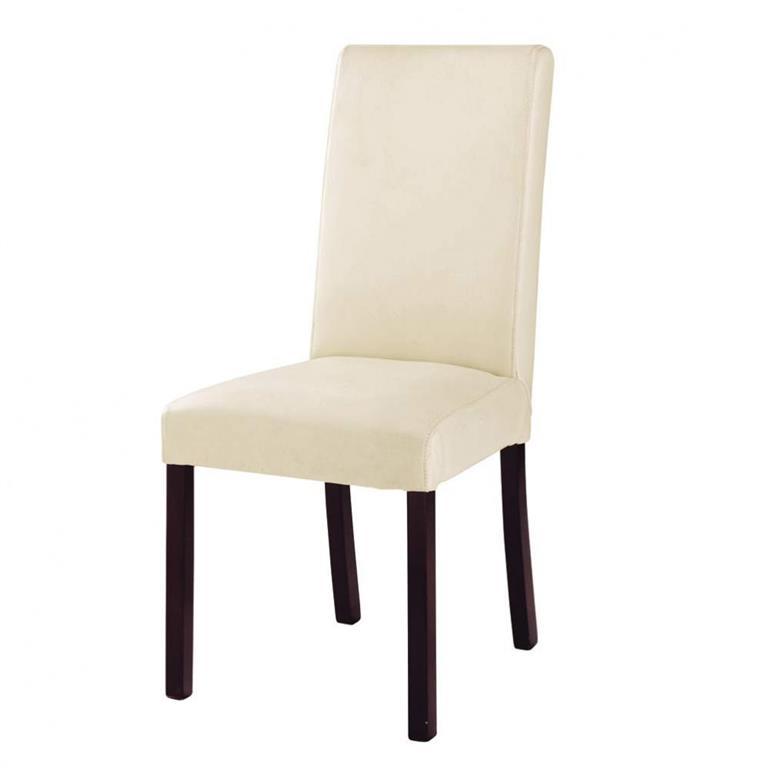 Chaise en croûte de cuir et bois ivoire Harvard