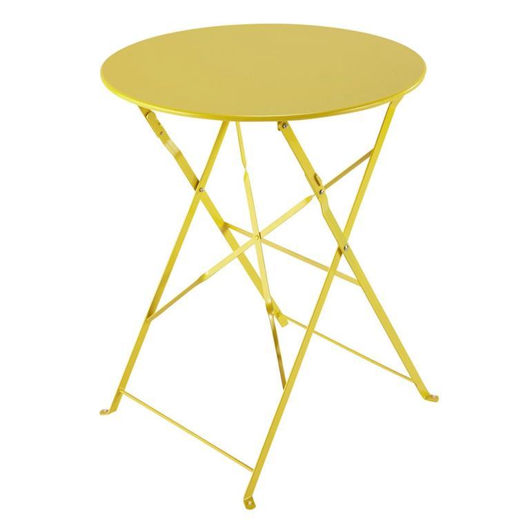 Table de jardin pliante en métal jaune D58 Guinguette
