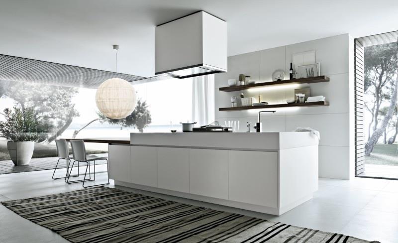 Cuisine avec meubles blancs et lot central galement blanc for Cuisine blanc laque avec ilot